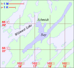 """Schmidt Bay Local Area Map– While the """"Schmidt Bay Road Map"""" shows the location of Schmidt Bay in relation to highways and towns, this map provides a better identification of the local area. Schmidt Bay occupies a portion of Wildnest Lake and is identified by the dark blue area."""