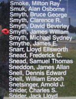Memorial– Flight Sergeant James William Smyth is commemorated on the Bomber Command Memorial Wall in Nanton, AB … photo courtesy of Marg Liessens