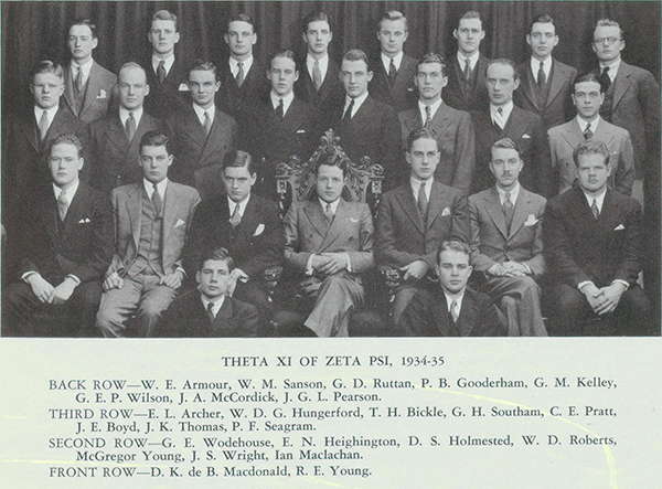 Photo– Group photo of Zeta Psi fraternity members, Theta Xi Chapter, showing Holmested in second row, third from photo left. He is seated beside E. N. Heighington, who also was killed in the war. From Torontonensis yearbook, 1935.