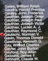 Memorial– Flying Officer Norman Vincent Gautschi is also commemorated on the Bomber Command Memorial Wall in Nanton, AB … photo courtesy of Marg Liessens