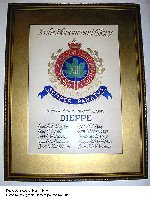 Memorial scroll– Royal Hamilton Light Infantry memorial scroll for Dieppe.  On display at the 