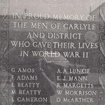 War Memorial– This memorial is located in Carlyle, Saskatchewan.