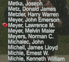 Memorial– Pilot Officer Lawrence Marius Meyer is also commemorated on the Bomber Command Memorial Wall in Nanton, AB … photo courtesy of Marg Liessens