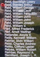 Memorial– Flying Officer Stanley Arthur Reid is commemorated on the Bomber Command Memorial Wall in Nanton, AB … photo courtesy of Marg Liessens
