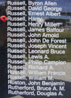 Memorial– Sergeant Harry Russell is also commemorated on the Bomber Command Memorial Wall in Nanton, AB … photo courtesy of Marg Liessens