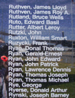 Memorial– Warrant Officer Class I John Edward Ryan is also commemorated on the Bomber Command Memorial Wall in Nanton, AB … photo courtesy of Marg Liessens