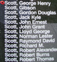 Memorial– Flight Sergeant George Henry Scott is commemorated on the Bomber Command Memorial Wall in Nanton, AB … photo courtesy of Marg Liessens
