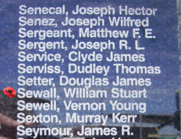 Memorial– Flying Officer William Stuart Sewall is commemorated on the Bomber Command Memorial Wall in Nanton, AB … photo courtesy of Marg Liessens