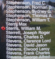 Memorial– Flight Lieutenant Navigator William Meredith Sterns is also commemorated on the Bomber Command Memorial Wall in Nanton, AB … photo courtesy of Marg Liessens