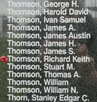 Memorial– Flying Officer Richard Keith Thomson is also commemorated on the Bomber Command Memorial Wall in Nanton, AB … photo courtesy of Marg Liessens
