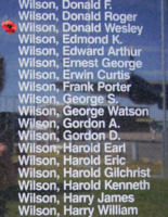 Memorial– Sergeant Donald Wesley Wilson is also commemorated on the Bomber Command Memorial Wall in Nanton, AB … photo courtesy of Marg Liessens