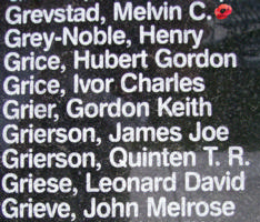Memorial– Flying Officer Melvin Clarence Grevstad is also commemorated on the Bomber Command Memorial Wall in Nanton, AB … photo courtesy of Marg Liessens