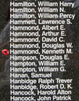 Memorial– Pilot Officer Kenneth Morris Hammond is also commemorated on the Bomber Command Memorial Wall in Nanton, AB … photo courtesy of Marg Liessens