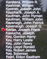 Memorial– Pilot Officer Joseph Frank Kaviza is also commemorated on the Bomber Command Memorial Wall in Nanton, AB … photo courtesy of Marg Liessens