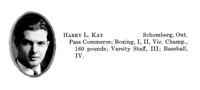 Biography– Entry from Torontonensis, University of Toronto's yearbook, 1933, lists Kay's interests and activities.