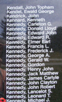 Memorial– Flight Sergeant Michael Joseph Kennedy is also commemorated on the Bomber Command Memorial Wall in Nanton, AB … photo courtesy of Marg Liessens