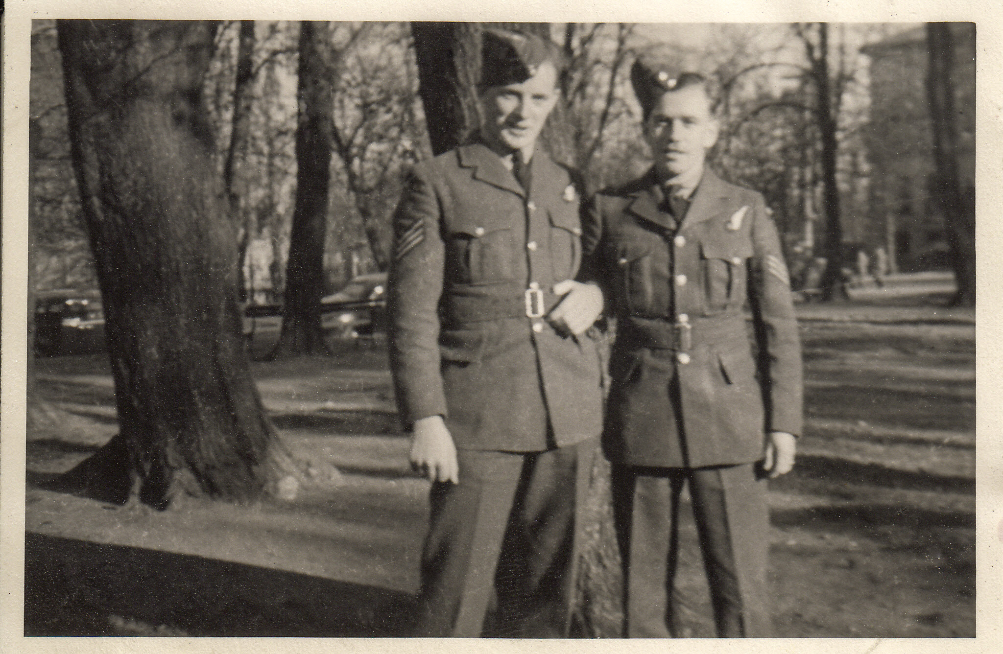 """Group Photo– Lloyd Stanley """"Red"""" Lafoy and Irvine Labow in Halifax waiting for transport to UK."""