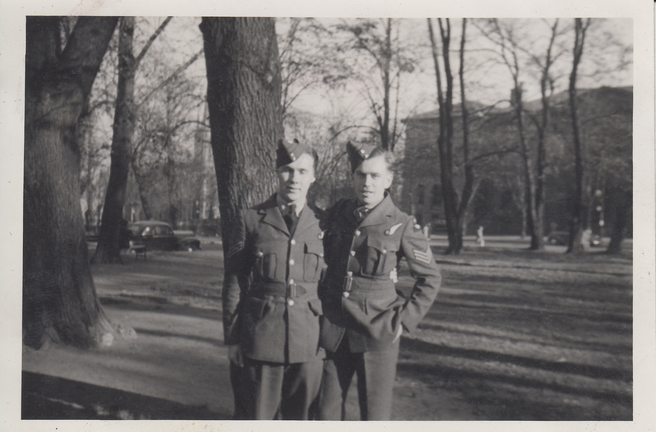 """Group Photo– Joe Carrigan (KIA) and Irvine Labow.  Photo taken by L.S. """"Red"""" Lafoy in 1942 in Halifax, Nova Scotia."""