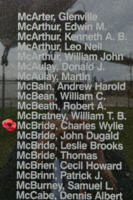 Memorial– Flight Lieutenant Air Bomber Charles Wylie McBride is also commemorated on the Bomber Command Memorial Wall in Nanton, AB … photo courtesy of Marg Liessens