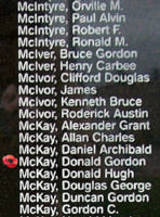 Memorial– Flying Officer Donald Gordon McKay is also commemorated on the Bomber Command Memorial Wall in Nanton, AB … photo courtesy of Marg Liessens
