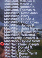 Memorial– Flying Officer Elmer Joseph Alexander MacNair is also commemorated on the Bomber Command Memorial Wall in Nanton, AB … photo courtesy of Marg Liessens