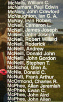 Memorial– Pilot Officer Donald Cameron McNie is also commemorated on the Bomber Command Memorial Wall in Nanton, AB … photo courtesy of Marg Liessens