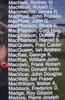 Memorial– Pilot Officer Frank Robert Macrovic is also commemorated on the Bomber Command Memorial Wall in Nanton, AB … photo courtesy of Marg Liessens