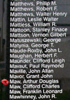 Memorial– Pilot Officer Arthur Douglas Maw is also commemorated on the Bomber Command Memorial Wall in Nanton, AB … photo courtesy of Marg Liessens