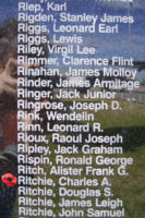 Memorial– Pilot Officer Charles Alexander Ritchie is commemorated on the Bomber Command Memorial Wall in Nanton, AB … photo courtesy of Marg Liessens