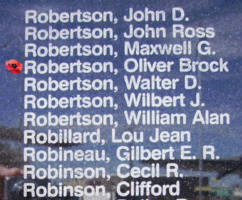 Memorial– Flight Lieutenant Oliver Brock Robertson is also commemorated on the Bomber Command Memorial Wall in Nanton, AB … photo courtesy of Marg Liessens