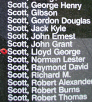 Memorial– Warrant Officer Class II Lloyd George Scott is commemorated on the Bomber Command Memorial Wall in Nanton, AB … photo courtesy of Marg Liessens
