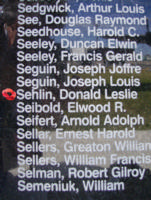 Memorial– Pilot Officer Donald Leslie Sehlin is commemorated on the Bomber Command Memorial Wall in Nanton, AB … photo courtesy of Marg Liessens