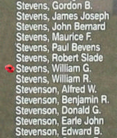 Memorial– Pilot Officer William George Stevens is also commemorated on the Bomber Command Memorial Wall in Nanton, AB … photo courtesy of Marg Liessens