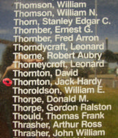 Memorial– Pilot Officer Jack Hardy Thornton is commemorated on the Bomber Command Memorial Wall in Nanton, AB … photo courtesy of Marg Liessens