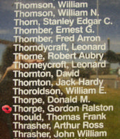 Memorial– Pilot Officer Gordon Ralston Thorpe is commemorated on the Bomber Command Memorial Wall in Nanton, AB … photo courtesy of Marg Liessens