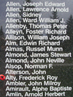 Memorial– Flying Officer Frederick Roy Alty is also commemorated on the Bomber Command Memorial Wall in Nanton, AB … photo courtesy of Marg Liessens