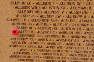 Memorial– Flying Officer Frederick Roy Alty is also commemorated at the International Bomber Command Centre, Lincolnshire, UK - May 2019 … photo courtesy of Marg Liessens