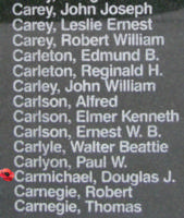 Memorial– Flight Sergeant Douglas John Carmichael is also commemorated on the Bomber Command Memorial Wall in Nanton, AB … photo courtesy of Marg Liessens
