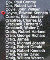 Memorial– Pilot Officer Edward Kenneth Coyne is also commemorated on the Bomber Command Memorial Wall in Nanton, AB … photo courtesy of Marg Liessens