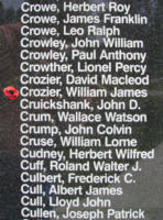Memorial– Flight Sergeant William James Crozier is also commemorated on the Bomber Command Memorial Wall in Nanton, AB … photo courtesy of Marg Liessens