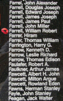 Memorial– Warrant Officer Class II William Robert Farrell is also commemorated on the Bomber Command Memorial Wall in Nanton, AB … photo courtesy of Marg Liessens