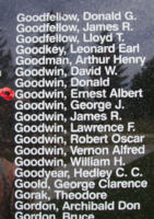 Memorial– Pilot Officer Ernest Albert Goodwin is also commemorated on the Bomber Command Memorial Wall in Nanton, AB … photo courtesy of Marg Liessens