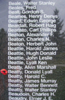 Memorial– Warrant Officer Donald Lyall Beatty is also commemorated on the Bomber Command Memorial Wall in Nanton, AB … photo courtesy of Marg Liessens