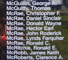 Memorial– Flying Officer Lynds Farquhar McRae is also commemorated on the Bomber Command Memorial Wall in Nanton, AB … photo courtesy of Marg Liessens
