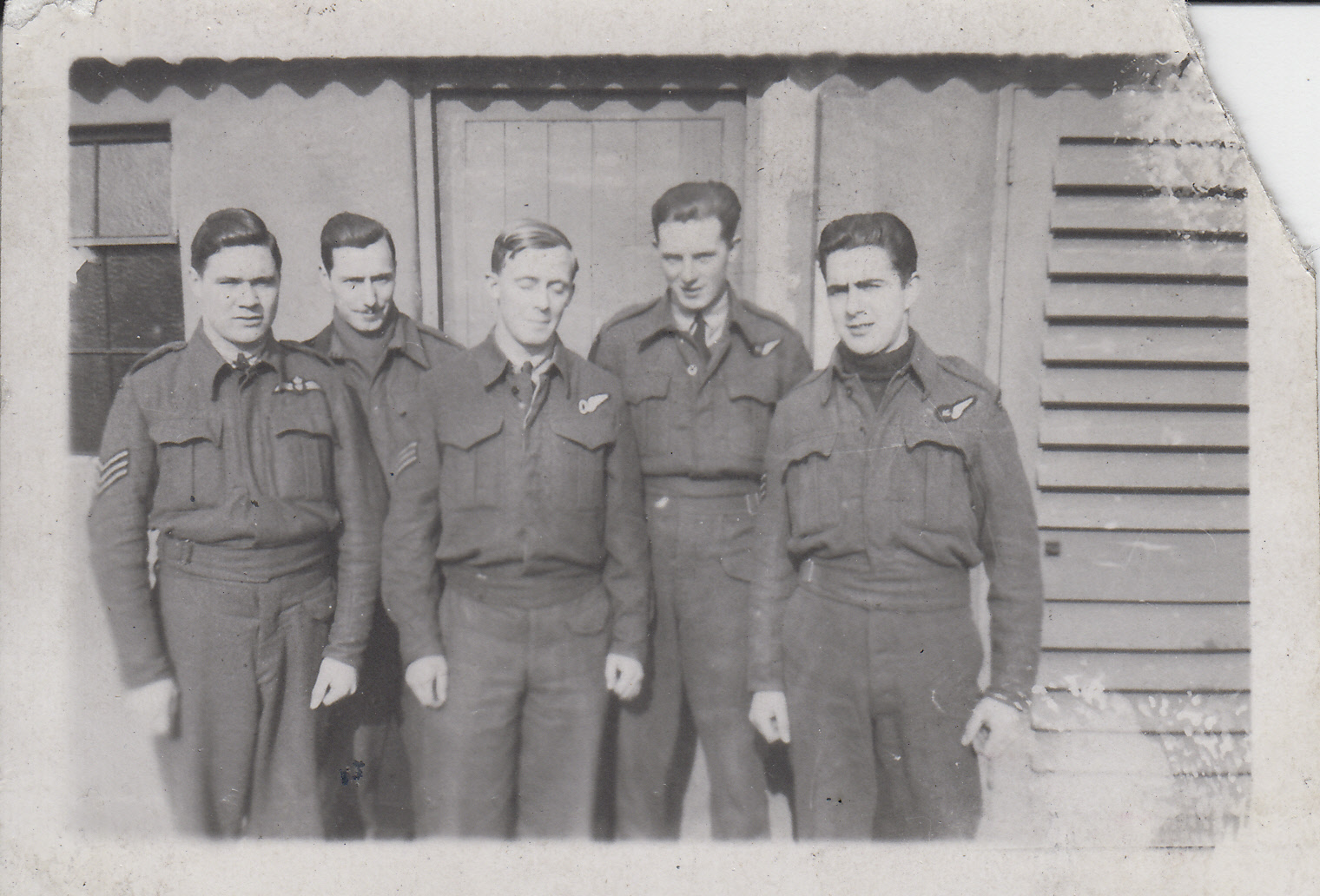 """Group Photo– Richard """"Spud"""" Talman, Jack Stokes, Lawrence Ford, Lloyd """"Red"""" Lafoy, Murray """"Tupp"""" Tupper.  Dishforth, UK with 426 Thunderbird Squadron.  1943.  Talman would be KIA as a 2nd Dickie (pilot) training to take out his crew on a bombing run in the Happy Valley."""
