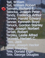 Memorial– Sergeant Richard Ellwood Talman is also commemorated on the Bomber Command Memorial Wall in Nanton, AB … photo courtesy of Marg Liessens