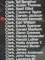 Memorial– Flight Sergeant Donald Kenneth Clark is also commemorated on the Bomber Command Memorial Wall in Nanton, AB … photo courtesy of Marg Liessens