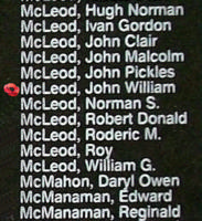 Memorial– Pilot Officer John William McLeod is also commemorated on the Bomber Command Memorial Wall in Nanton, AB … photo courtesy of Marg Liessens