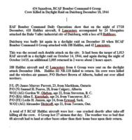 Essay– Details of the crew's last operation which was a daylight raid over Duisburg, Germany.