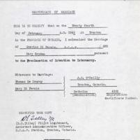 Certificate of Marriage– Submitted for the project, Operation Picture Me